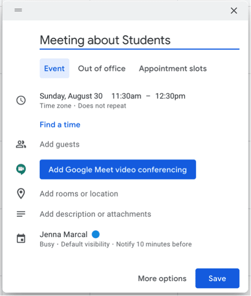 How to easily add meetings to Google Calendar and send invites.