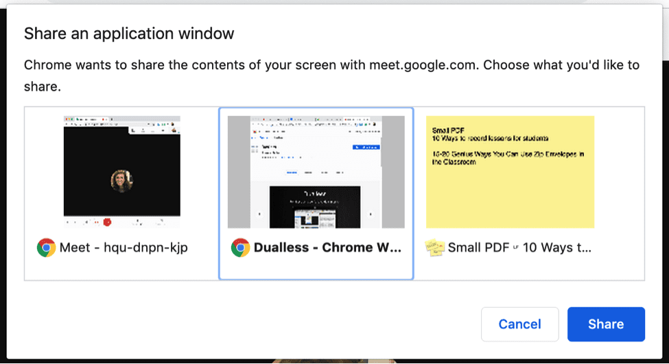 Add the Dualless Chrome extension to split your screen in Google Meets.