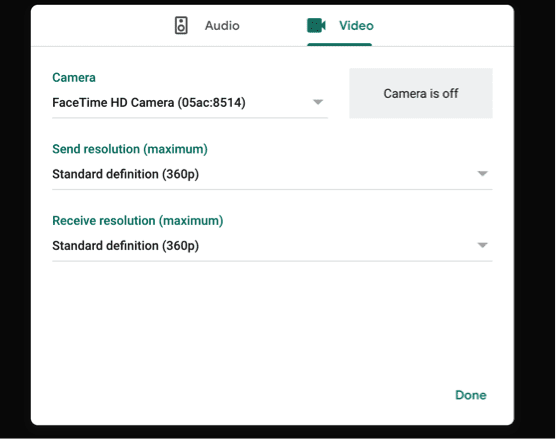 Lower resolution settings in Google Meets to prevent freezing.
