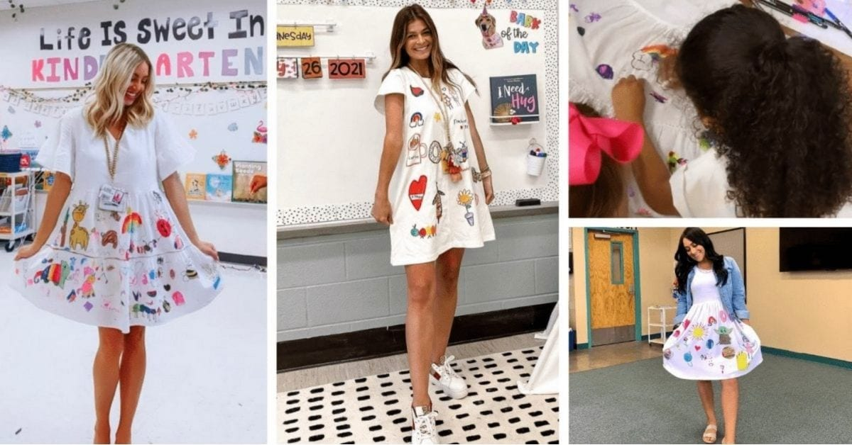 Teachers Let Students Draw on Their Dresses On Last Day of School and We're in Love!